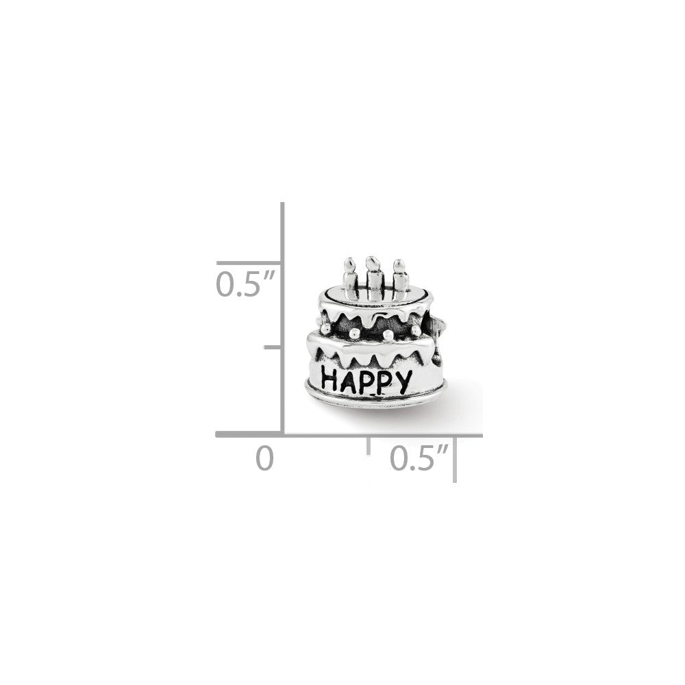 Alternate view of the Happy Birthday Cake Charm in Antiqued Sterling Silver by The Black Bow Jewelry Co.