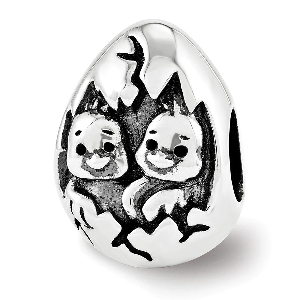 Happy Easter Hatching Chicks Charm in Antiqued Sterling Silver, Item B12215 by The Black Bow Jewelry Co.