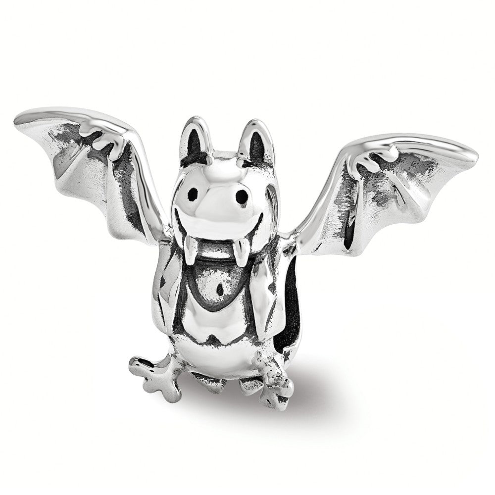 Vampire Bat Charm in Antiqued Sterling Silver, Item B12219 by The Black Bow Jewelry Co.