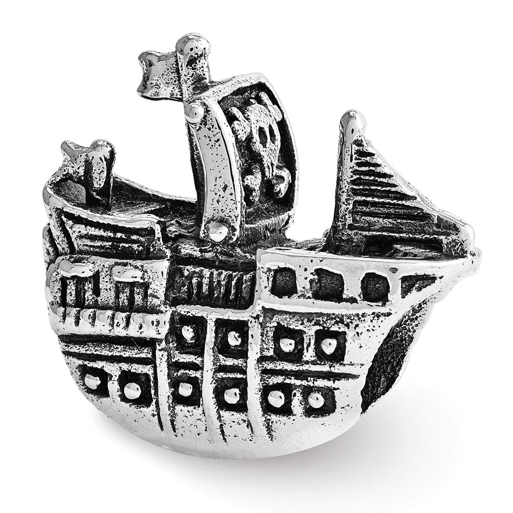 Pirate Ship Charm in Antiqued Sterling Silver, Item B12221 by The Black Bow Jewelry Co.