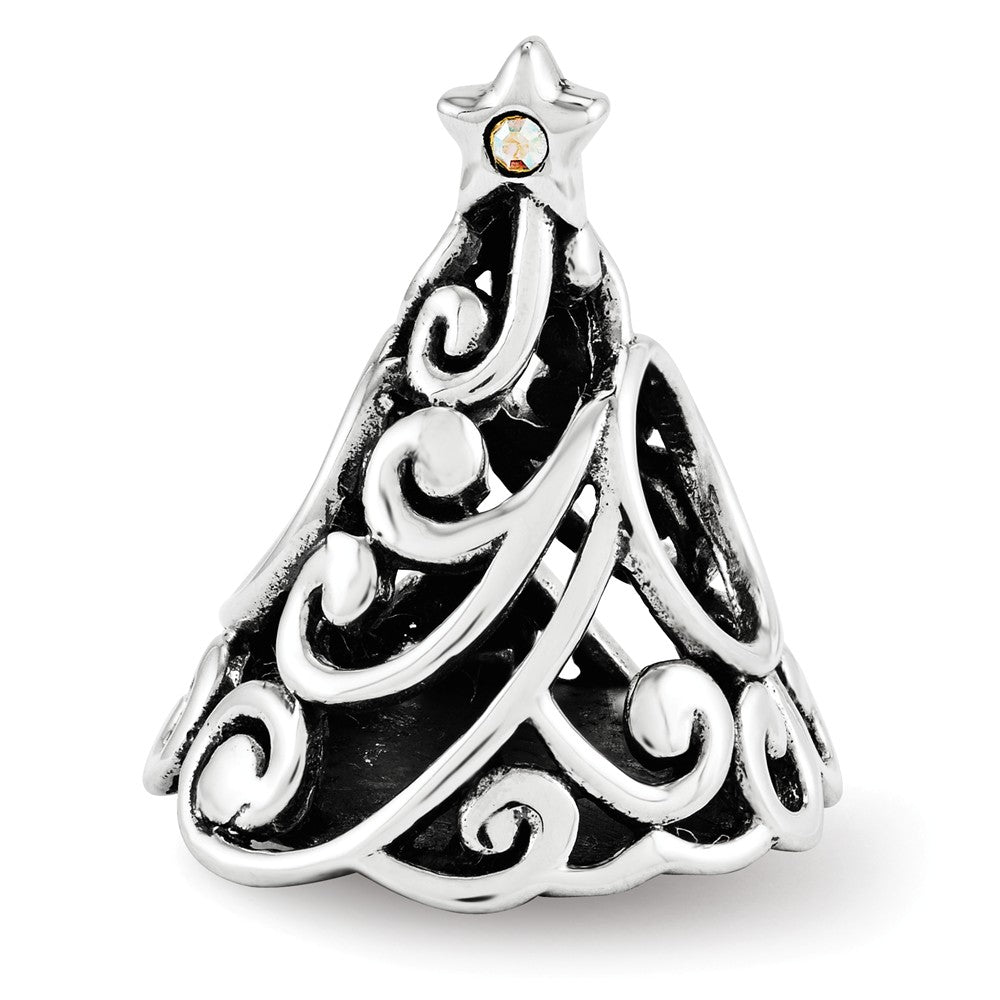 Sterling Silver Filigree Christmas Tree Charm with Swarovski Crystals, Item B12225 by The Black Bow Jewelry Co.