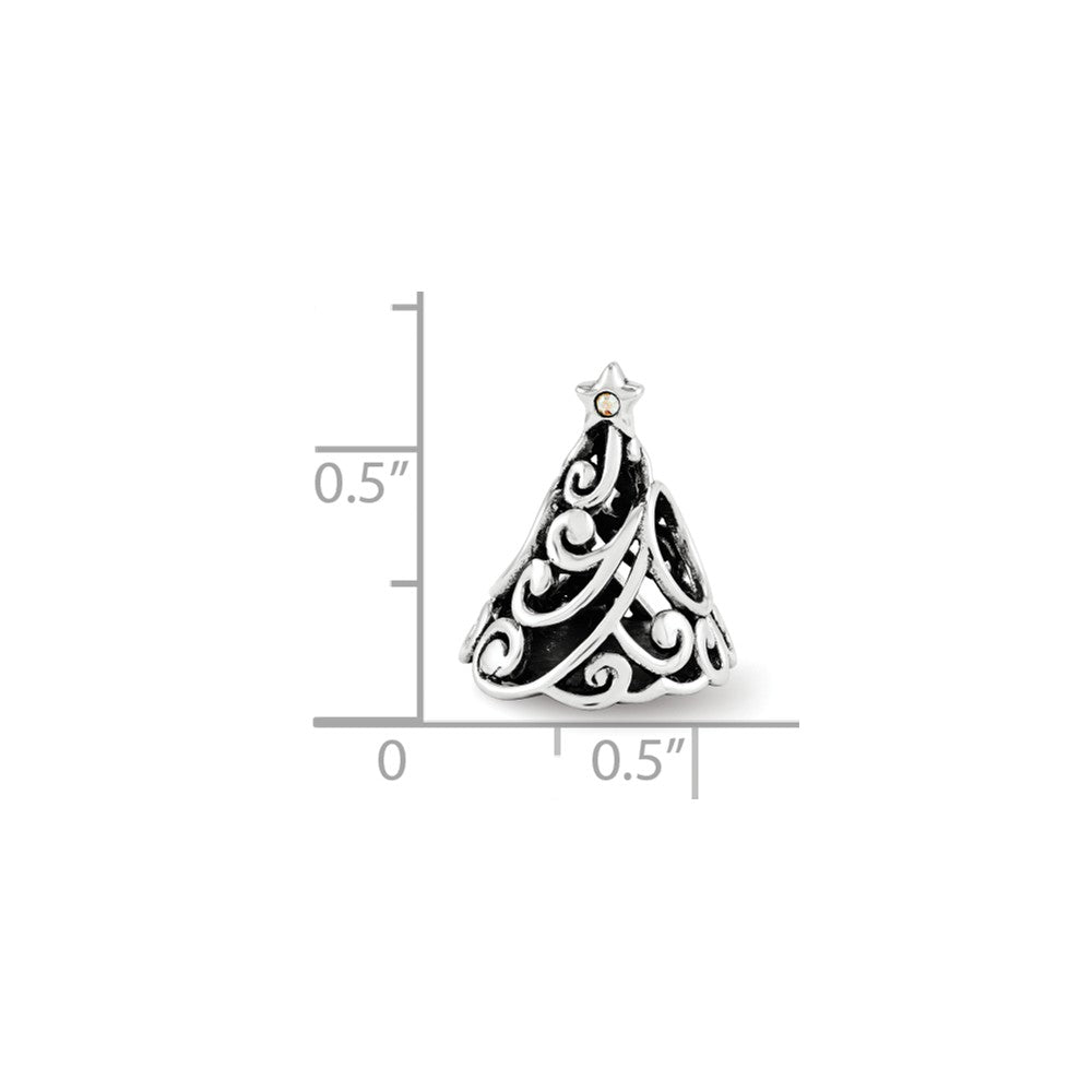 Alternate view of the Sterling Silver Filigree Christmas Tree Charm with Swarovski Crystals by The Black Bow Jewelry Co.