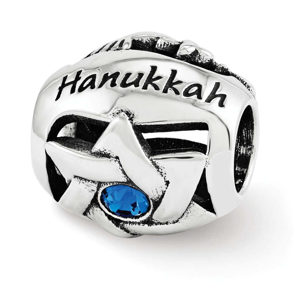 Sterling Silver with Blue Swarovski Crystals Happy Hanukkah Bead Charm, Item B12230 by The Black Bow Jewelry Co.