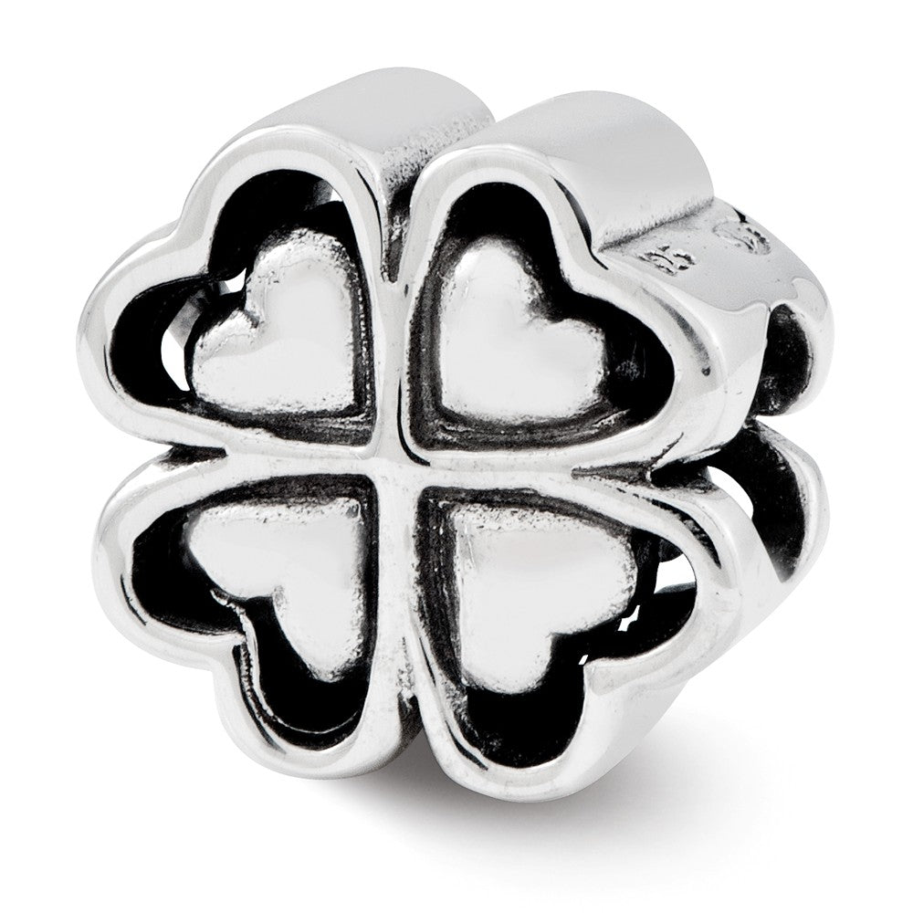 Four Leaf Heart Clover Charm in Antiqued Sterling Silver, Item B12233 by The Black Bow Jewelry Co.