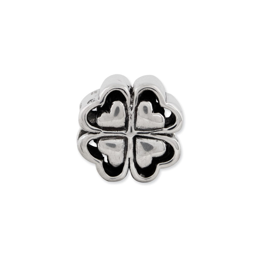 Alternate view of the Four Leaf Heart Clover Charm in Antiqued Sterling Silver by The Black Bow Jewelry Co.