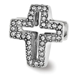 Sterling Silver with Swarovski Crystals Reversible Cross Bead Charm - The Black Bow Jewelry Co.