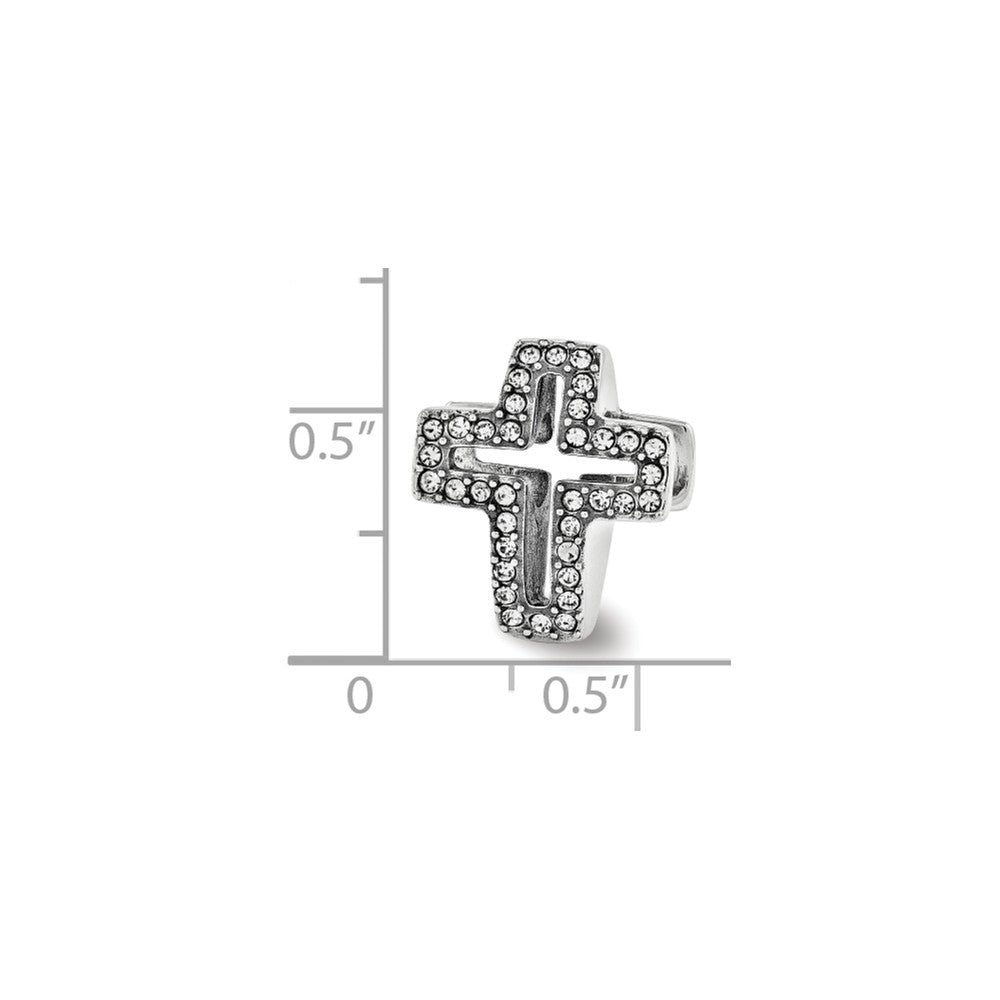 Alternate view of the Sterling Silver with Swarovski Crystals Reversible Cross Bead Charm by The Black Bow Jewelry Co.
