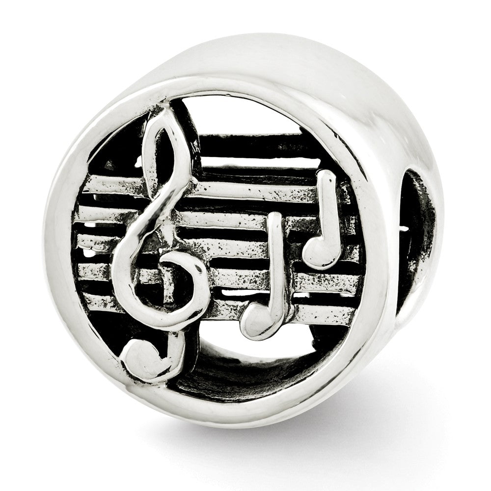 Music Notes and Staff Cylinder Charm in Antiqued Sterling Silver, Item B12248 by The Black Bow Jewelry Co.