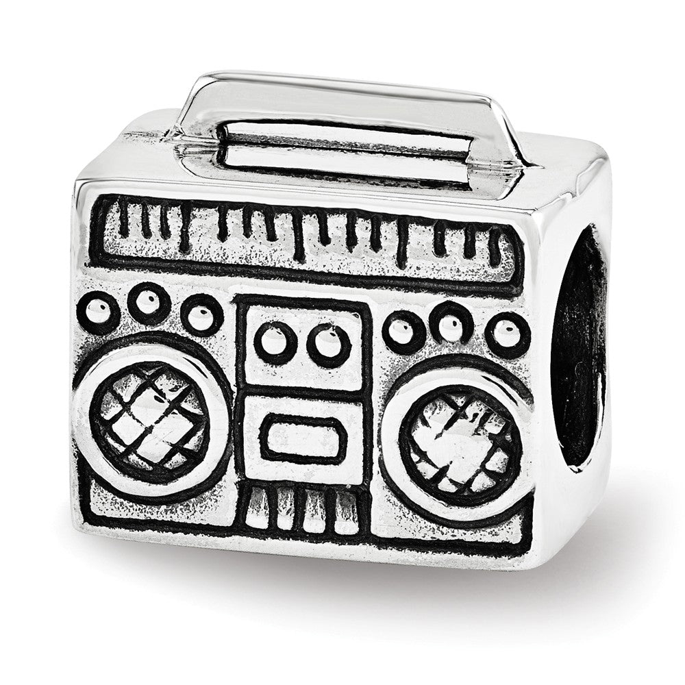 Boombox Charm in Antiqued Sterling Silver for 3mm Bead Bracelets, Item B12252 by The Black Bow Jewelry Co.