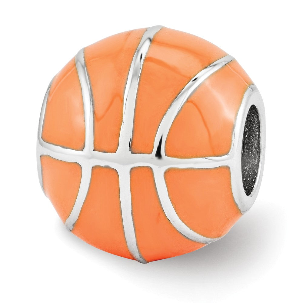 Sterling Silver & Orange Enameled Basketball Bead Charm, Item B12262 by The Black Bow Jewelry Co.