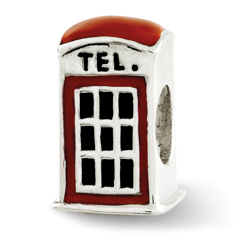 Sterling Silver Red Enameled Telephone Booth Bead Charm, Item B12267 by The Black Bow Jewelry Co.