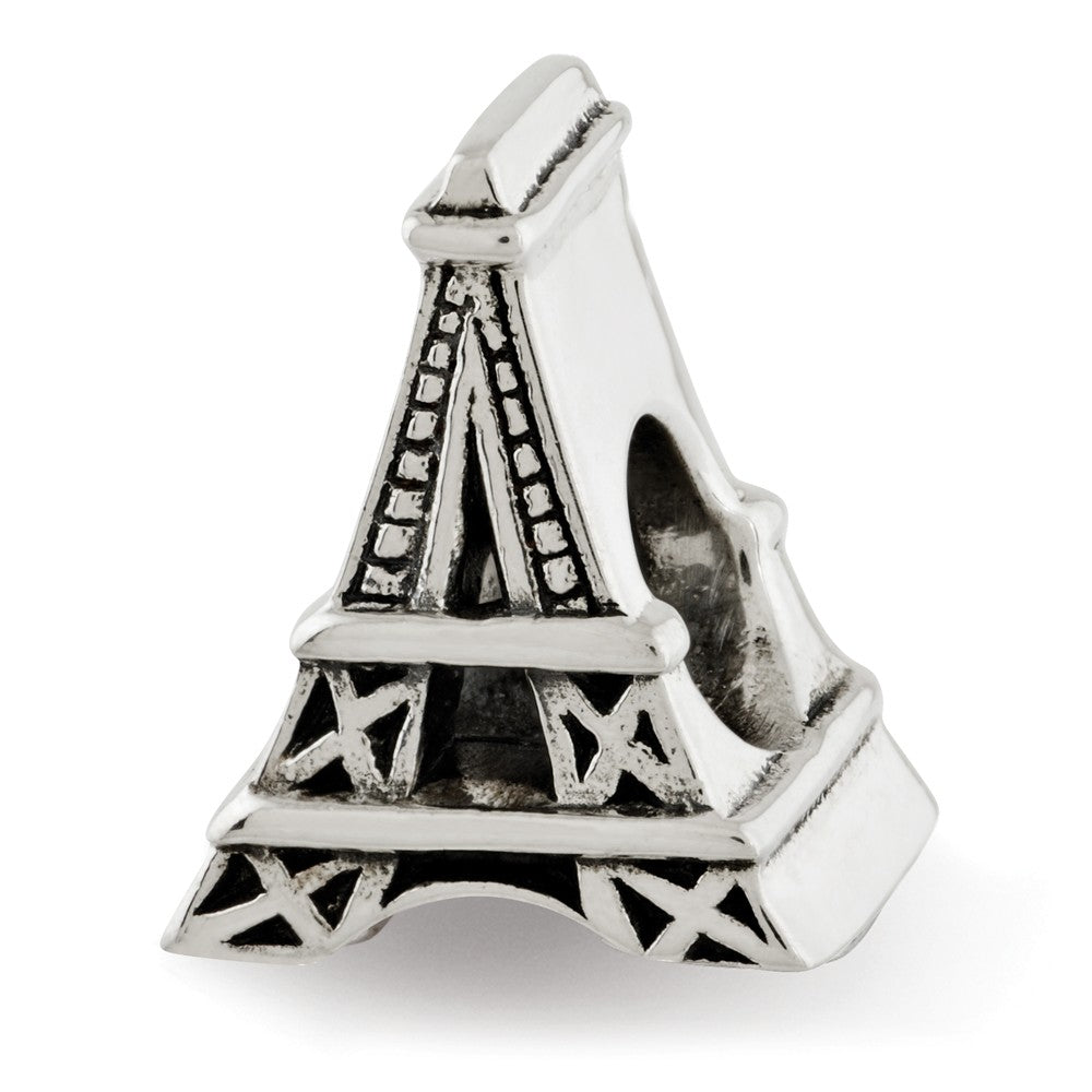 Eiffel Tower Charm in Antiqued Sterling Silver for 3mm Bead Bracelets, Item B12269 by The Black Bow Jewelry Co.