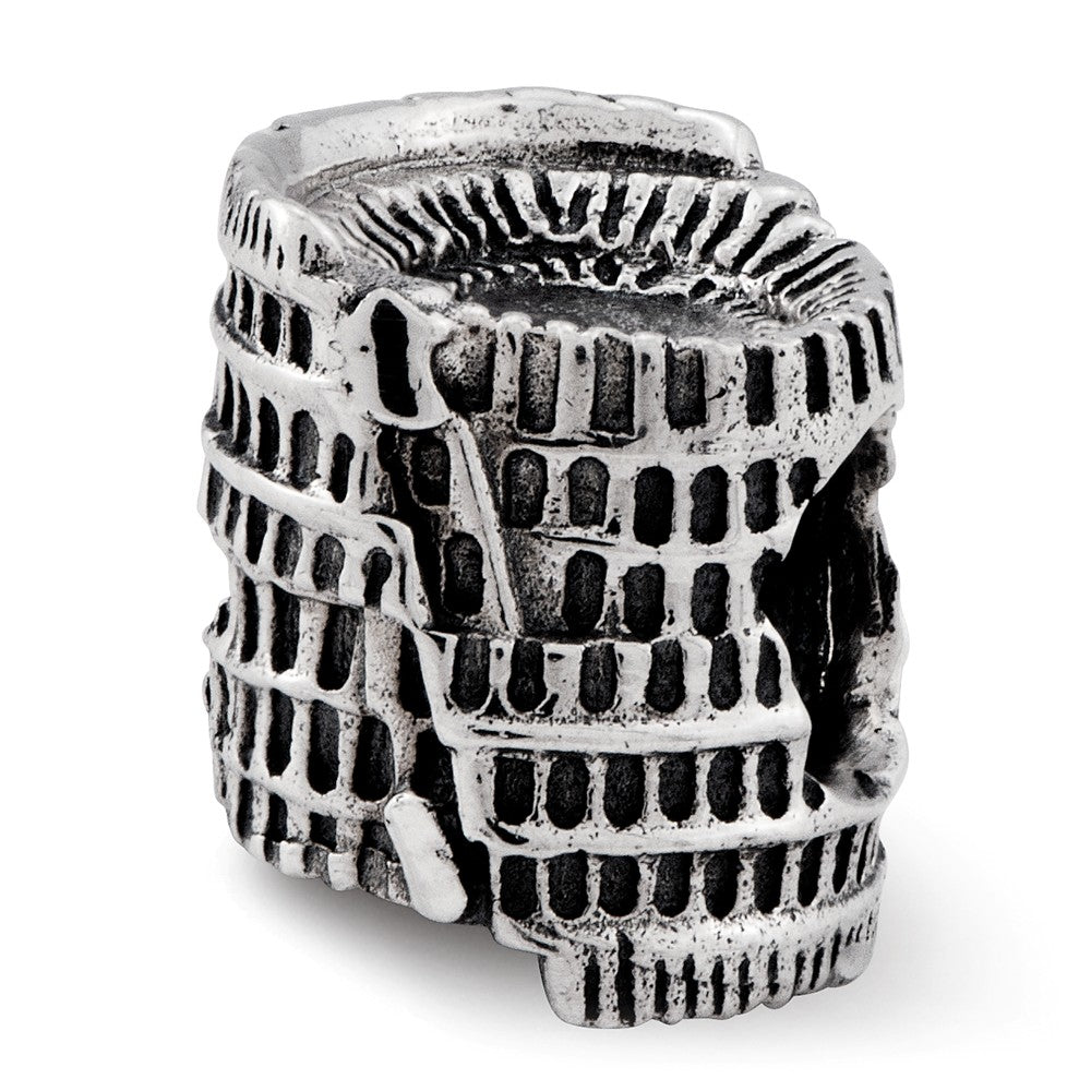 3D Colosseum Charm in Antiqued Sterling Silver for 3mm Bead Bracelets, Item B12271 by The Black Bow Jewelry Co.
