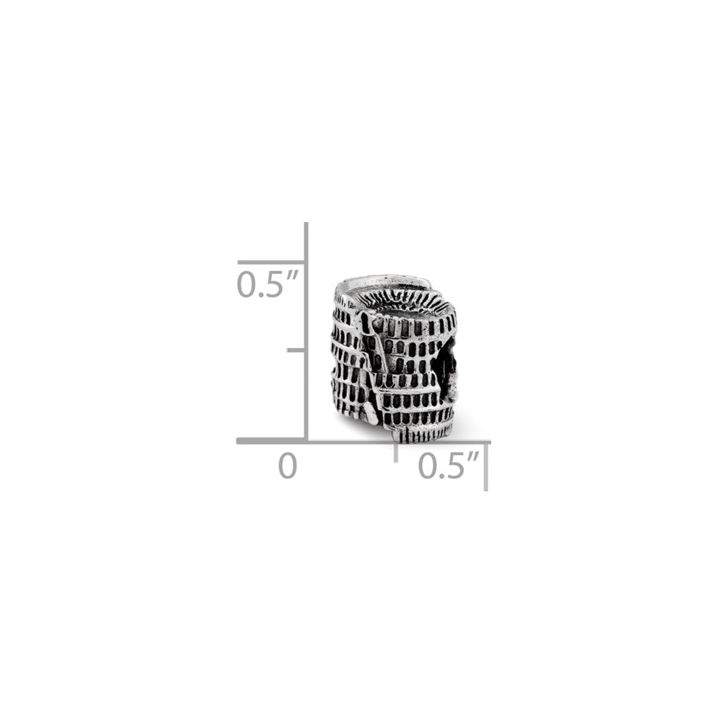 Alternate view of the 3D Colosseum Charm in Antiqued Sterling Silver for 3mm Bead Bracelets by The Black Bow Jewelry Co.