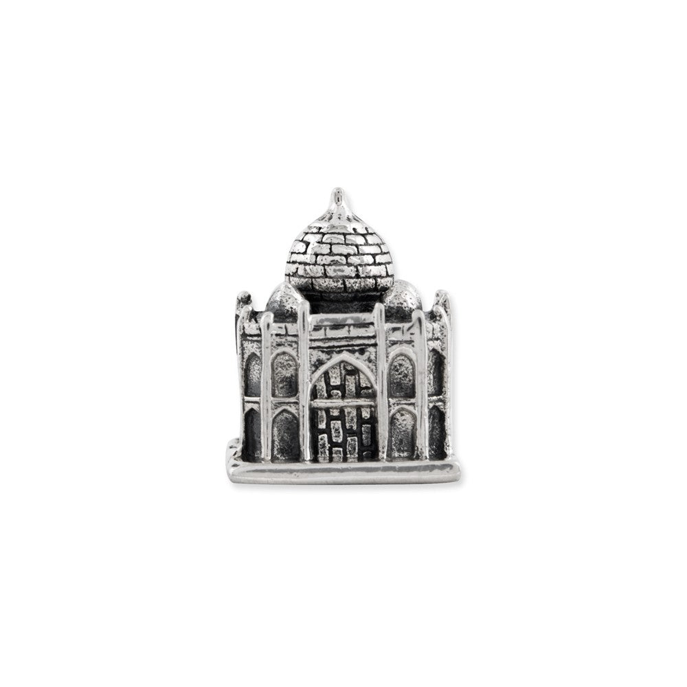 Alternate view of the 3D Taj Mahal Charm in Antiqued Sterling Silver for 3mm Bead Bracelets by The Black Bow Jewelry Co.