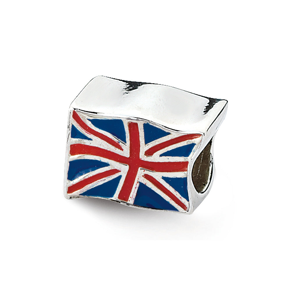 Sterling Silver Enameled United Kingdom Flag Bead Charm, Item B12280 by The Black Bow Jewelry Co.