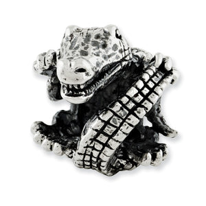Alternate view of the 3D Alligator Charm in Antiqued Sterling Silver by The Black Bow Jewelry Co.