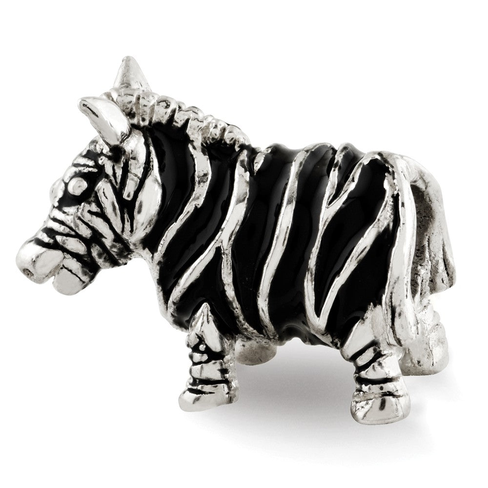 Sterling Silver Enameled Double Sided Zebra Bead Charm, Item B12286 by The Black Bow Jewelry Co.