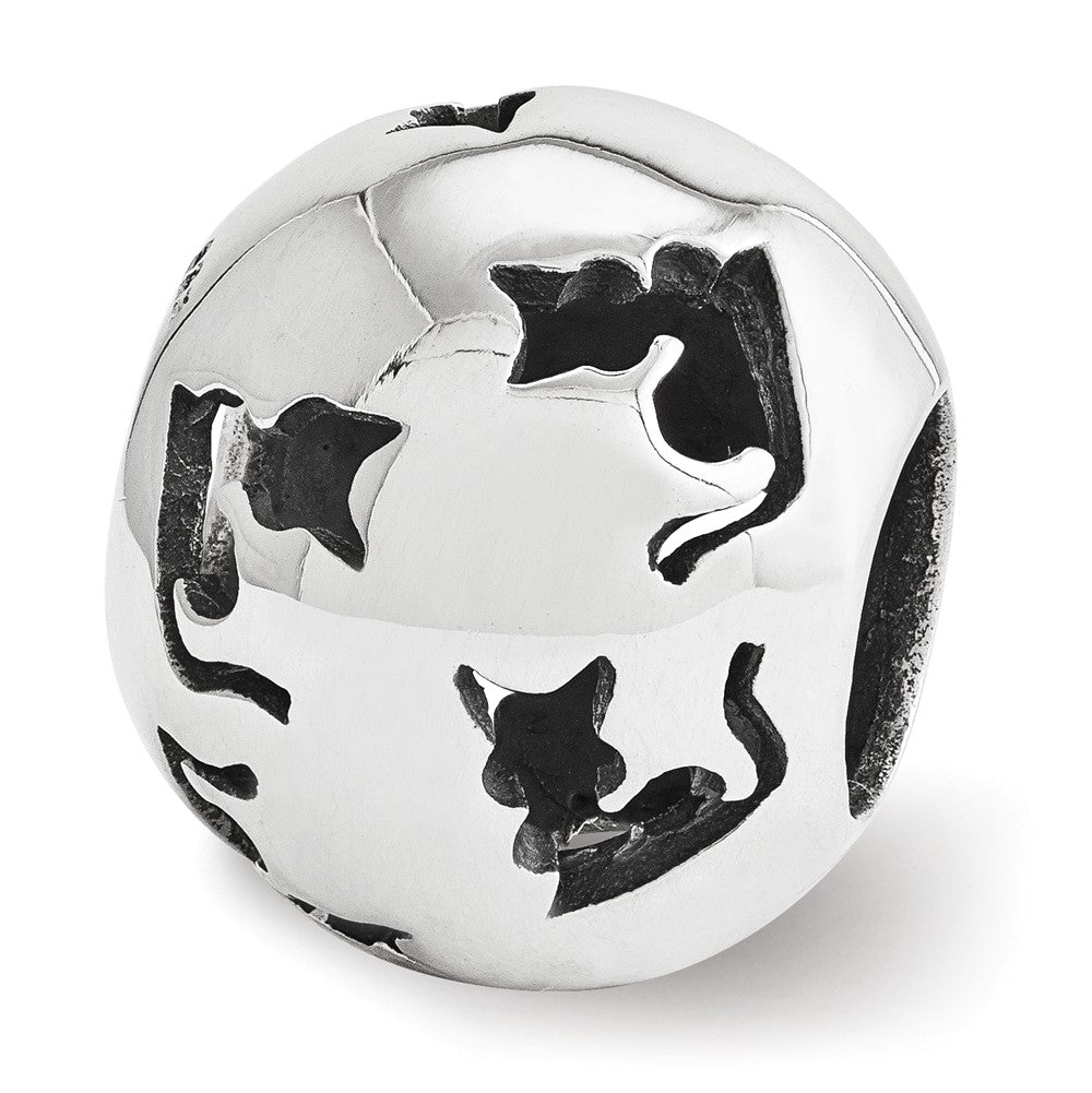 Sterling Silver Cutout Cat Silhouette Bead Charm, Item B12297 by The Black Bow Jewelry Co.