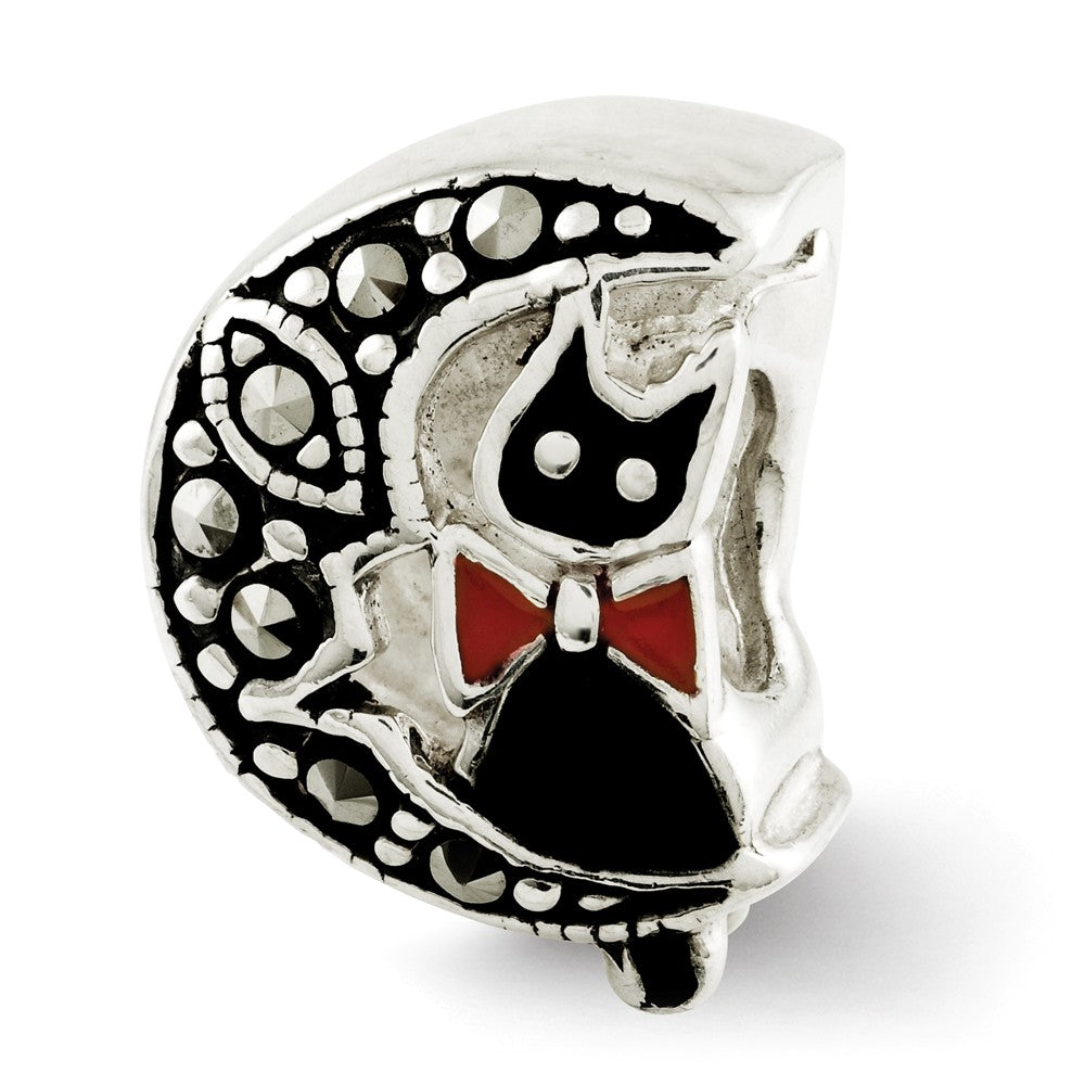 Sterling Silver Enamel & Marcasite Cat & Moon Double Sided Bead Charm, Item B12298 by The Black Bow Jewelry Co.