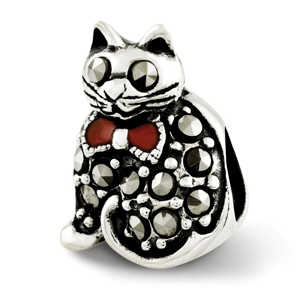 Sterling Silver, Enamel & Marcasite Cat with Red Bow Bead Charm, Item B12299 by The Black Bow Jewelry Co.