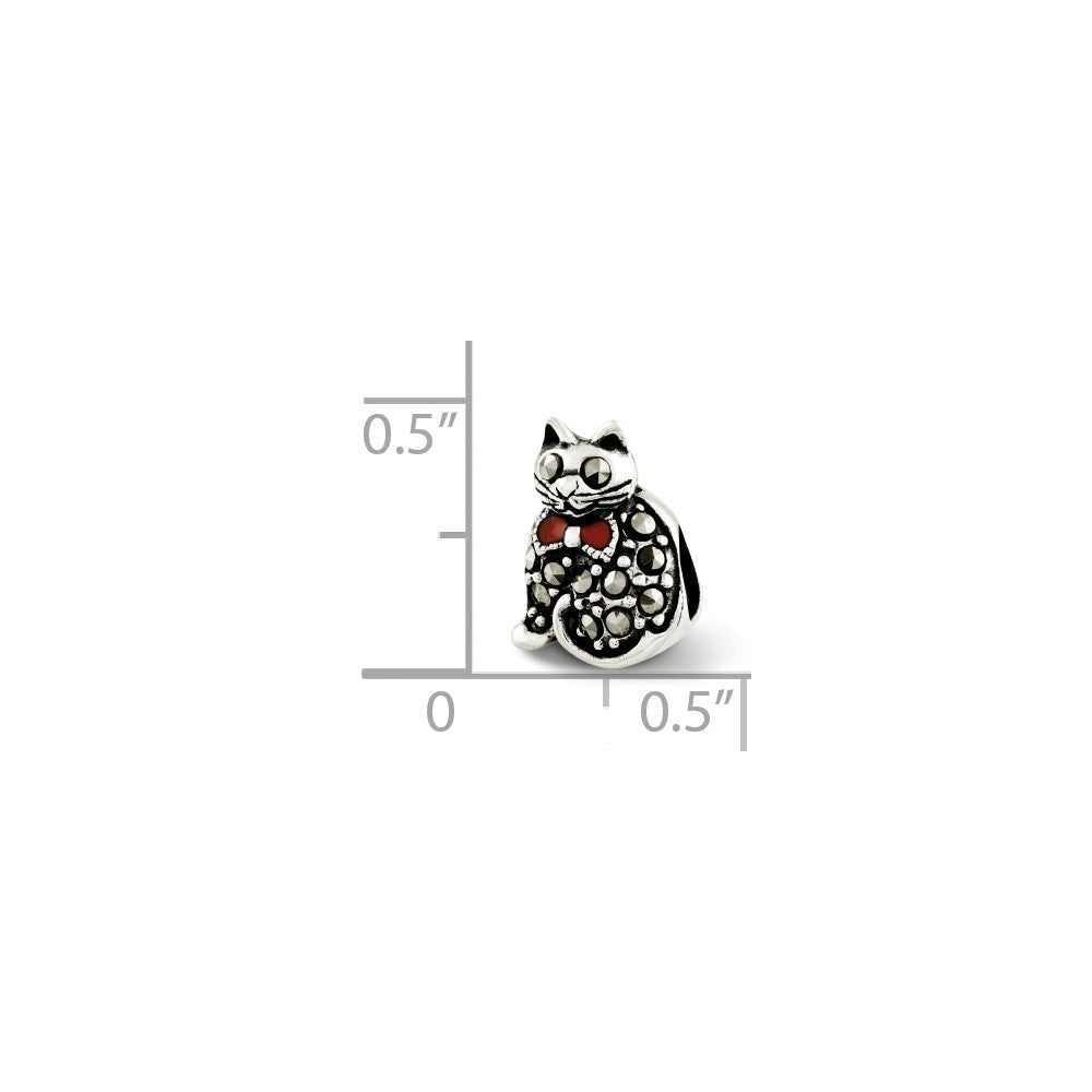 Alternate view of the Sterling Silver, Enamel & Marcasite Cat with Red Bow Bead Charm by The Black Bow Jewelry Co.