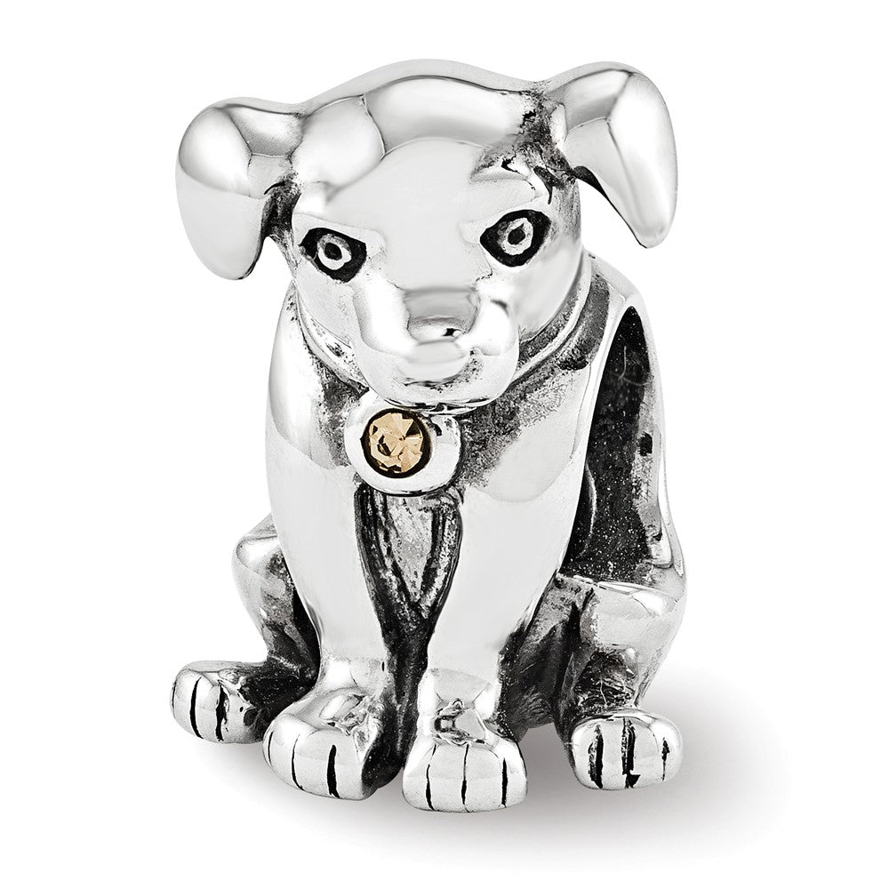 Sterling Silver Puppy with Swarovski Crystals Collar Charm, Item B12306 by The Black Bow Jewelry Co.