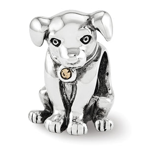 Sterling Silver Puppy with Swarovski Crystals Collar Charm