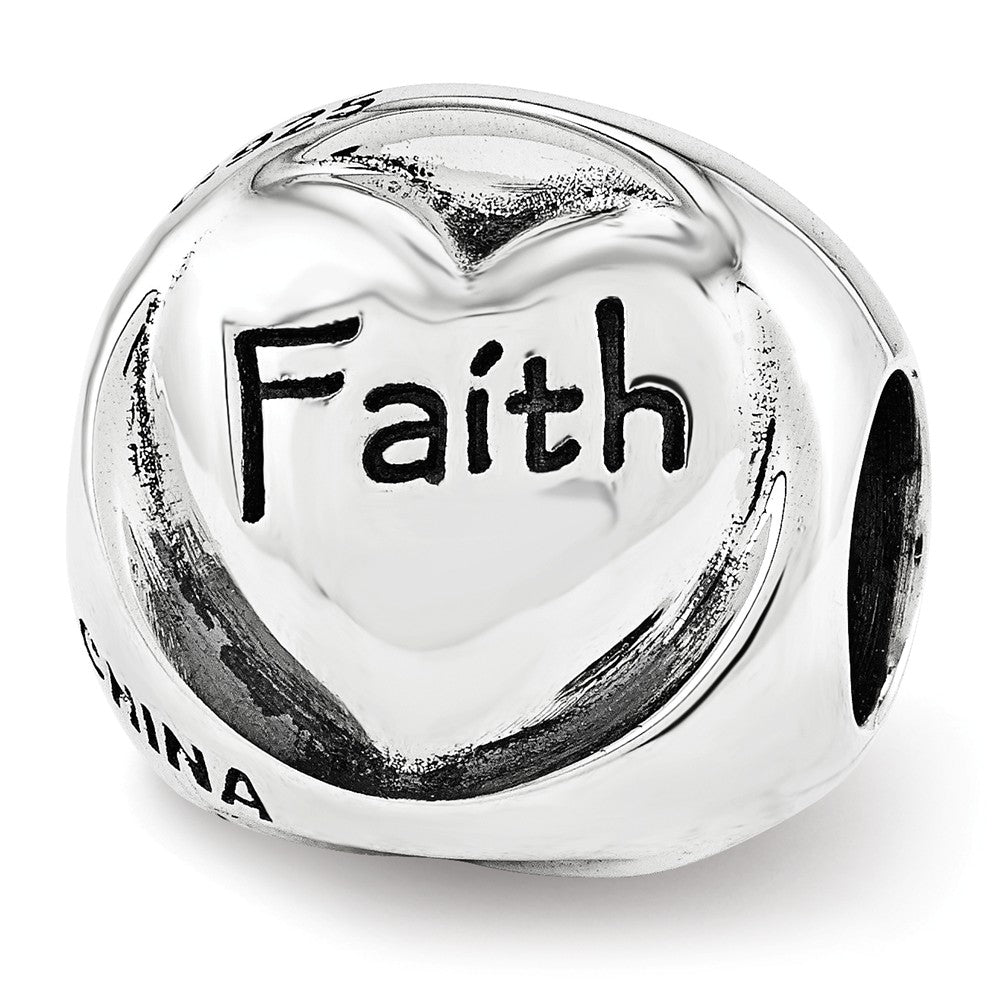 Sterling Silver Faith Hope Love 3-Sided Trilogy Bead Charm, Item B12308 by The Black Bow Jewelry Co.