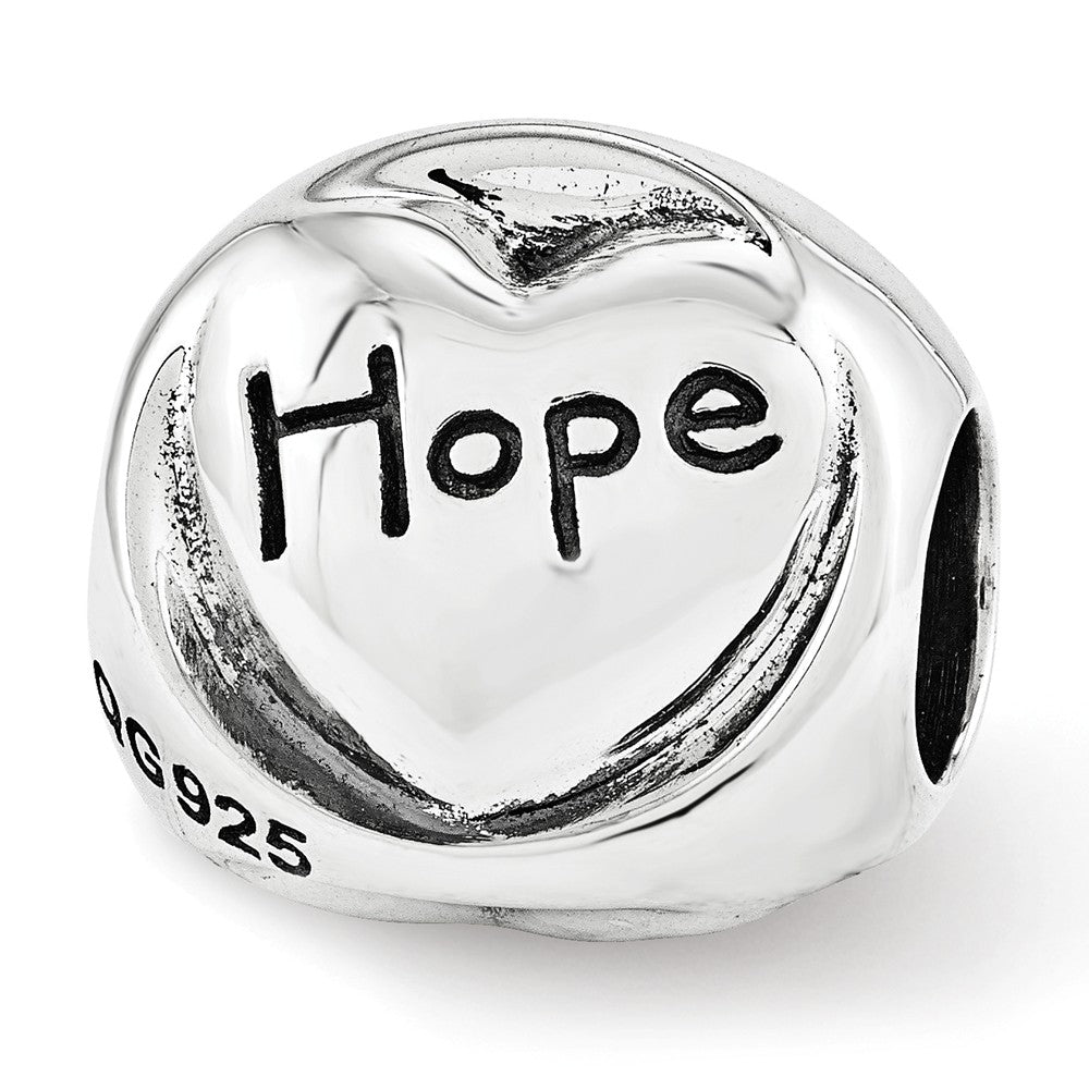Alternate view of the Sterling Silver Faith Hope Love 3-Sided Trilogy Bead Charm by The Black Bow Jewelry Co.