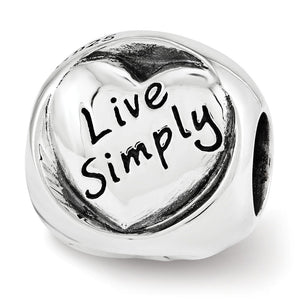 Sterling Silver Live Love Laugh 3-Sided Trilogy Bead Charm