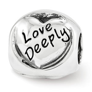 Alternate view of the Sterling Silver Live Love Laugh 3-Sided Trilogy Bead Charm by The Black Bow Jewelry Co.
