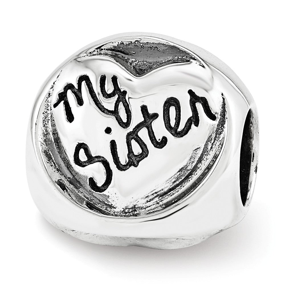 Sterling Silver My Sister My Friend 3-Sided Trilogy Bead Charm, Item B12311 by The Black Bow Jewelry Co.