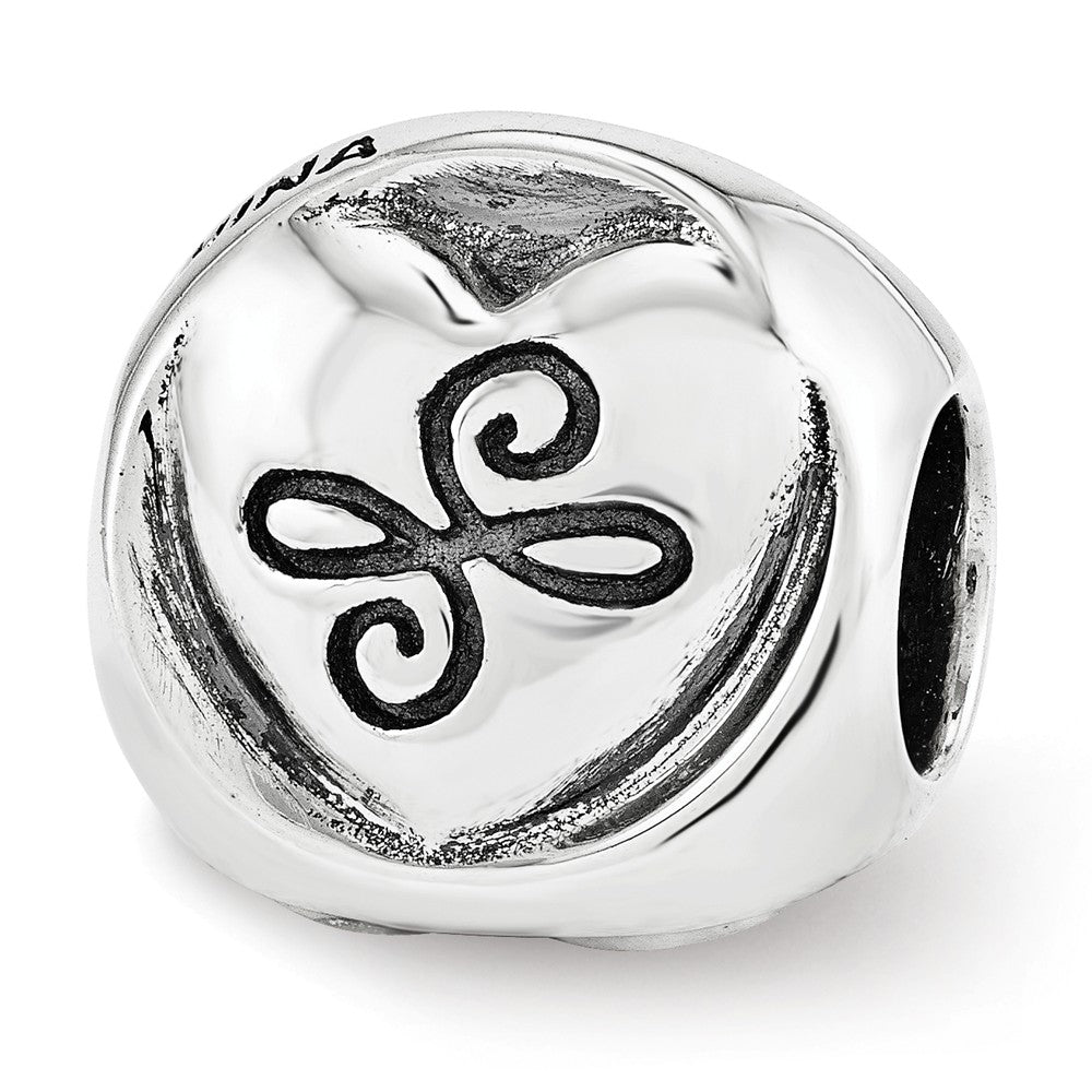 Alternate view of the Sterling Silver My Sister My Friend 3-Sided Trilogy Bead Charm by The Black Bow Jewelry Co.
