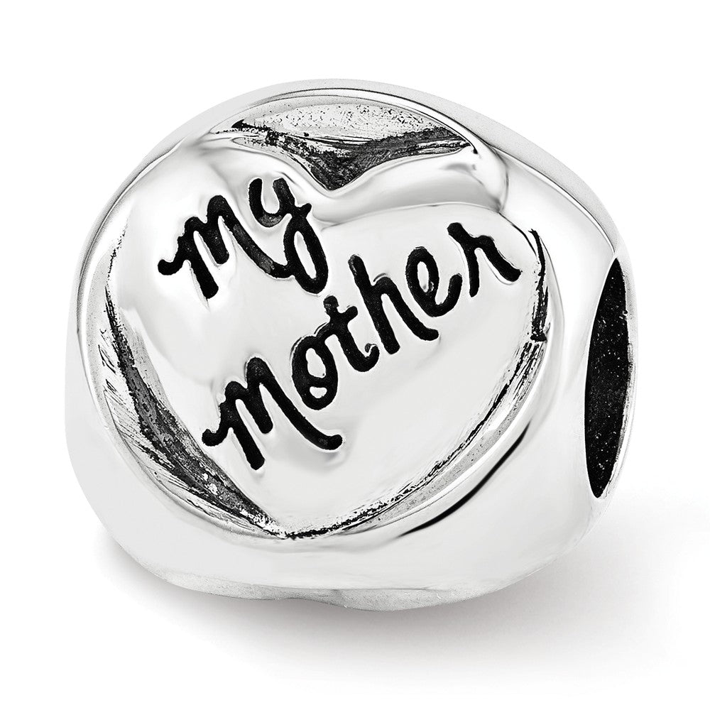 Sterling Silver My Mother My Friend 3-Sided Trilogy Bead Charm, Item B12312 by The Black Bow Jewelry Co.