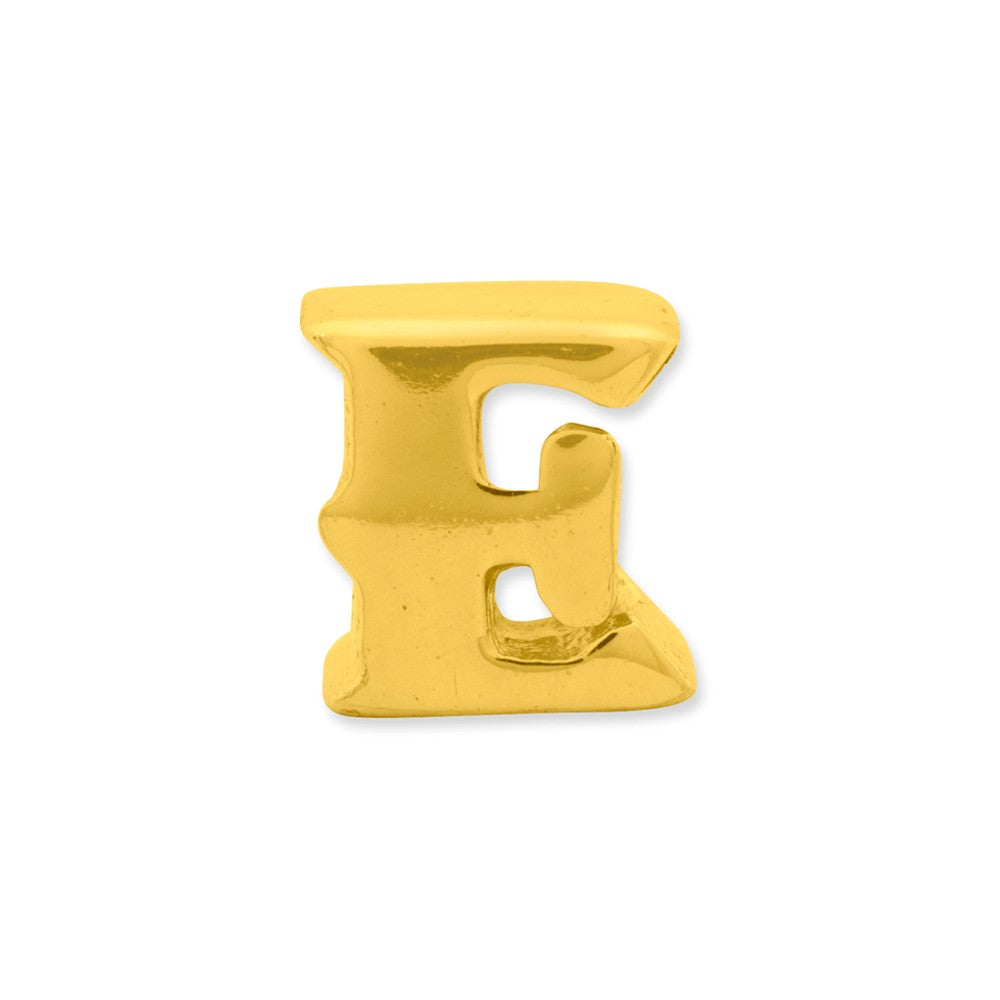 Alternate view of the Letter E Bead Charm in 14k Yellow Gold Plated Sterling Silver by The Black Bow Jewelry Co.