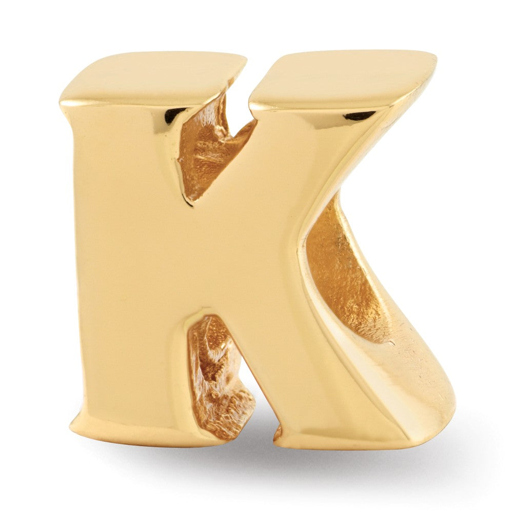 Letter K Bead Charm in 14k Yellow Gold Plated Sterling Silver, Item B12323 by The Black Bow Jewelry Co.