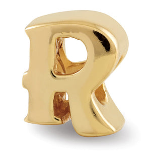 Letter R Bead Charm in 14k Yellow Gold Plated Sterling Silver - The Black Bow Jewelry Co.