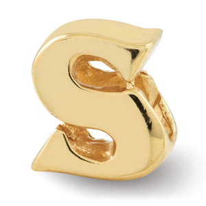 Letter S Bead Charm in 14k Yellow Gold Plated Sterling Silver - The Black Bow Jewelry Co.