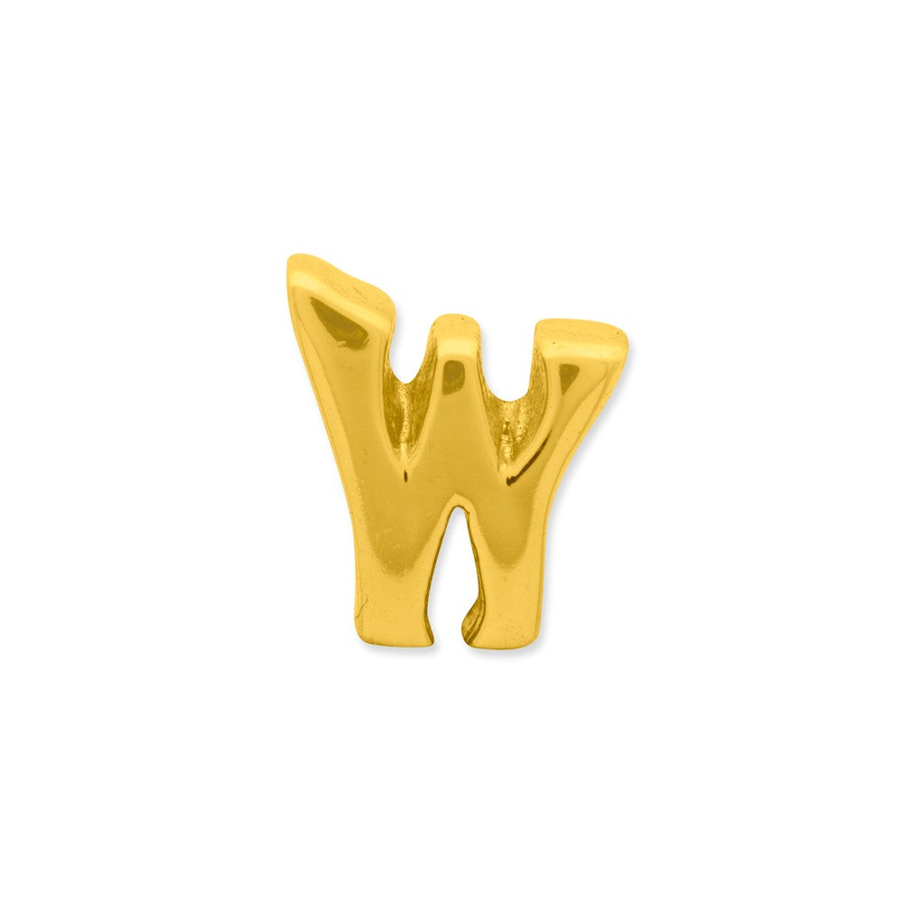 Alternate view of the Letter W Bead Charm in 14k Yellow Gold Plated Sterling Silver by The Black Bow Jewelry Co.