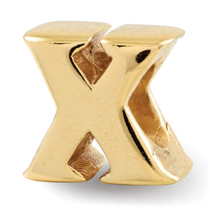 Letter X Bead Charm in 14k Yellow Gold Plated Sterling Silver - The Black Bow Jewelry Co.