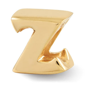 Letter Z Bead Charm in 14k Yellow Gold Plated Sterling Silver - The Black Bow Jewelry Co.