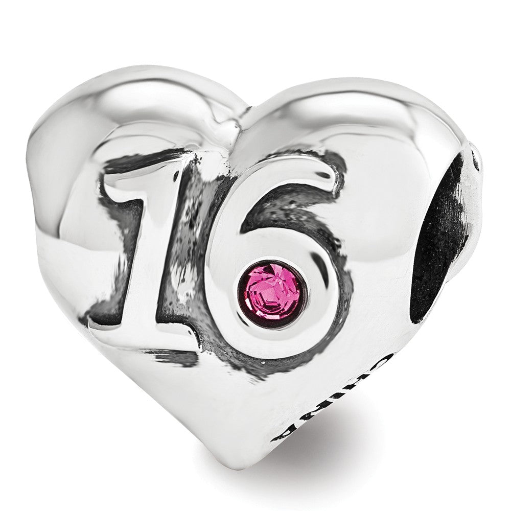 Alternate view of the Sterling Silver & Pink Crystal Sweet 16 Double Sided Heart Bead Charm by The Black Bow Jewelry Co.