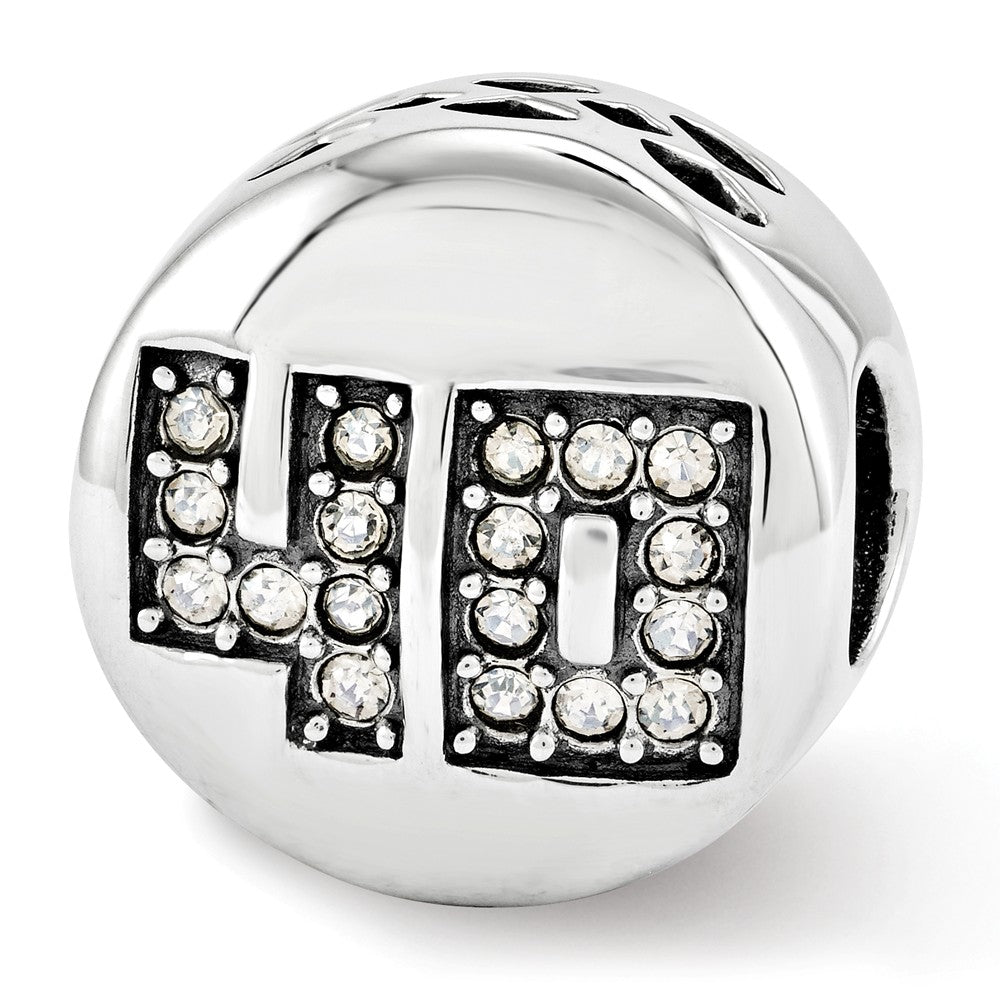 Sterling Silver with Swarovski Crystals Fabulous 40 Bead Charm, Item B12343 by The Black Bow Jewelry Co.