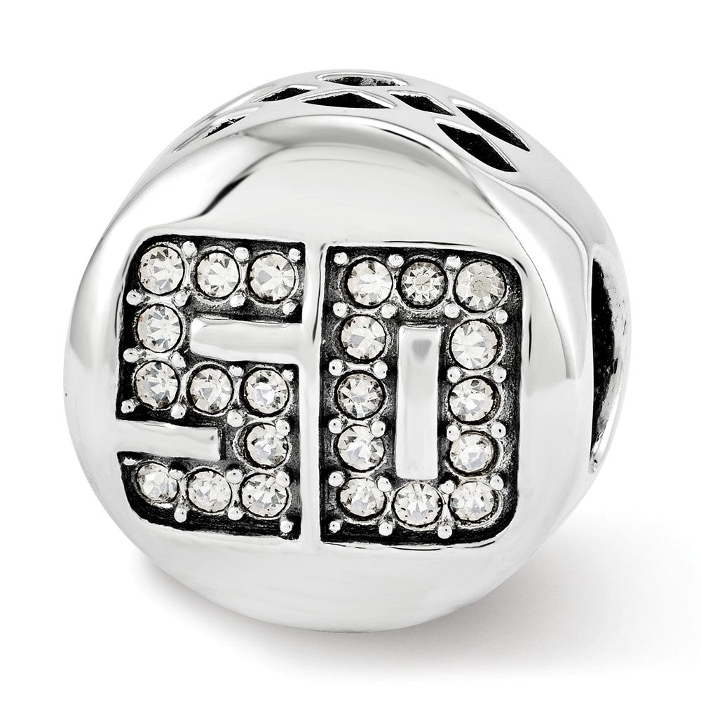 Sterling Silver with Swarovski Crystals Fantastic 50 Bead Charm, Item B12344 by The Black Bow Jewelry Co.