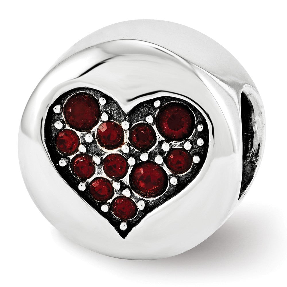 Sterling Silver with Swarovski Crystals January Heart Faith Bead Charm, Item B12345 by The Black Bow Jewelry Co.