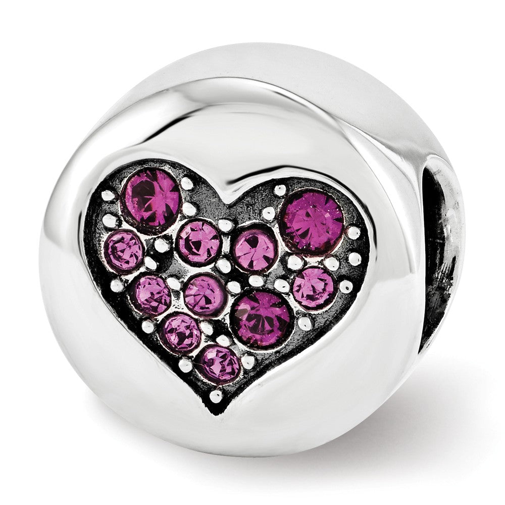 Sterling Silver with Swarovski Crystals Feb Heart Peace Bead Charm, Item B12346 by The Black Bow Jewelry Co.