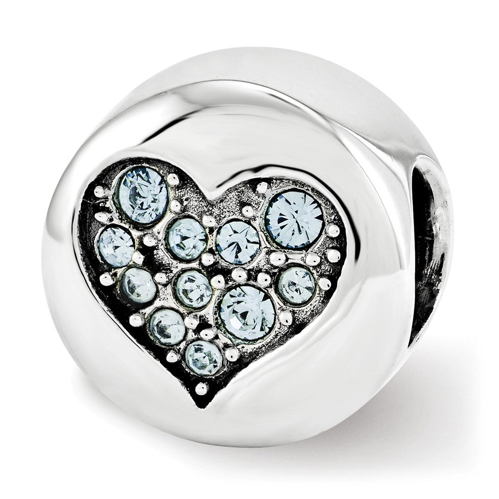 Sterling Silver with Swarovski Crystals March Heart Courage Bead Charm, Item B12347 by The Black Bow Jewelry Co.
