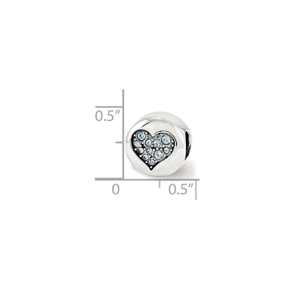 Alternate view of the Sterling Silver with Swarovski Crystals March Heart Courage Bead Charm by The Black Bow Jewelry Co.