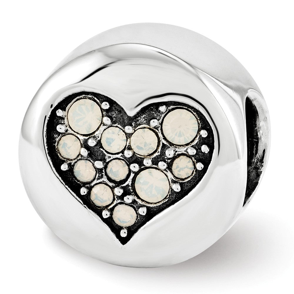 Sterling Silver with Swarovski Crystals June Heart Clarity Bead Charm, Item B12350 by The Black Bow Jewelry Co.
